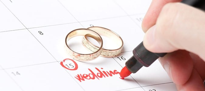 Circled Calendar Date with Two Wedding Rings