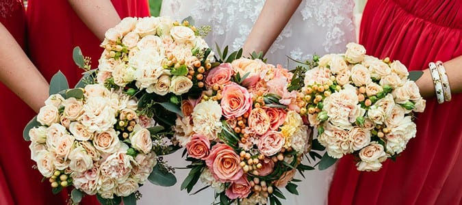 Wedding Bouquets held by Bridesmaids.